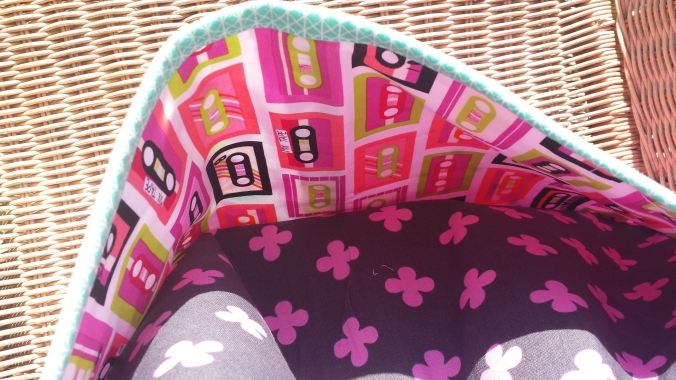 Neon cassette lining for Boxcar Tote by Crafty Planner